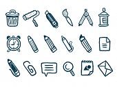 Stationery icons set. Vector illustration.