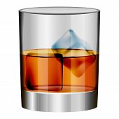 Whiskey Glass Mockup. Realistic Illustration Of Whiskey Glass Vector Mockup For Web Design Isolated  poster