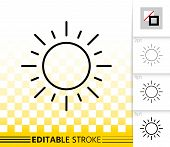 Sun Thin Line Icon. Outline Sign Of Sunny. Sunlight Linear Pictogram With Different Stroke Width. Si poster
