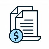 Invoice Line Icon. Payment And Bill Invoice. Order Symbol Concept. Tax Sign Design. Paper Bank Docum poster