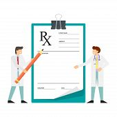 Miniature Doctor Stands Near Clipboard With Pencil In Hand. Rx Prescription Form. Doctor Writing Pre poster
