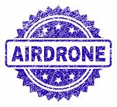 Airdrone Stamp Imprint With Grunge Style. Blue Vector Rubber Seal Print Of Airdrone Title With Grung poster