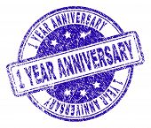 1 Year Anniversary Stamp Seal Watermark With Grunge Texture. Designed With Rounded Rectangles And Ci poster