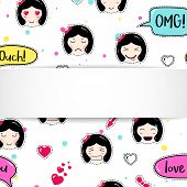 Girl Banner With Anime Emoji Pattern. Cute Stickers With Emoticon And 3d Paper. Childish Girl Banner poster