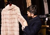 Macho With Stylish Appearance With Mink Fur In Fashion Store. Fashion And Elegance Concept. Man With poster