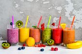 Berry And Fruit Smoothie, Healthy Juicy Vitamin Drink Diet Or Vegan Food Concept, Fresh Vitamins, Ho poster