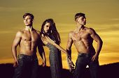 Girl Or Cute Woman And Macho Men, Muscular Athletes Or Bodybuilders With Naked Torsos, Six Packs, Ab poster