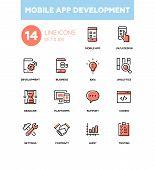 Mobile App Development - Modern Line Design Icons Set. Mobile App, Ux And Ui Design, Development, Bu poster