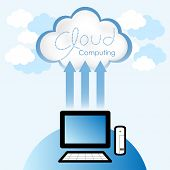 Cloud computing concept. Thin client computer accessing resources located in the