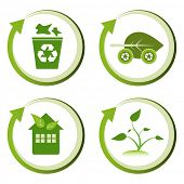Green eco friendly design concepts â?? recycle bin, green transport, green house, green seedling.