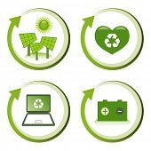 Green eco friendly design concepts - solar power, love recycling, computer recycling, battery recycl