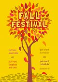 Template Poster Autumn Fall Holiday. Festival Party Text. Fancy Letters Greeting, . Autumnal Leaf Co poster