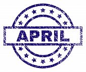 April Seal Print With Dirty Style. Designed With Rectangle, Circles And Stars. Blue Vector Rubber Pr poster