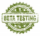 Beta Testing Stamp Seal Watermark With Dirty Style. Green Vector Rubber Print Of Beta Testing Text W poster