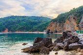 Adriatic Sea Coastline Near Budva City, Awesome Landscape After Sunset In Montenegro, Gorgeous Seasc poster