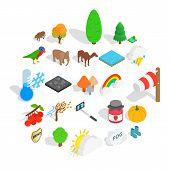 Wildlife Sanctuary Icons Set. Isometric Set Of 25 Wildlife Sanctuary Vector Icons For Web Isolated O poster
