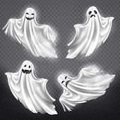 Vector Set Of White Ghosts With Various Facial Expressions, Phantom Silhouettes Isolated On Transpar poster