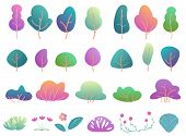 Flat Trees And Bushes In Modern Gradient Flat Design. Fantasy Color Park Tree And Bush poster