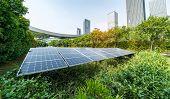 Ecological energy renewable solar panel plant with urban landscape landmarks poster