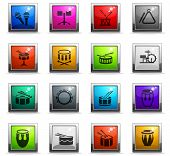 Rhythm Instruments Web Icons In Square Colored Buttons For User Interface Design poster