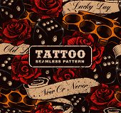 Tattoo Seamless Background. Vintage Background With Roses, Dices And Brass Knuckles. poster