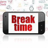 Time Concept: Smartphone With  Red Text Break Time On Display,  Hand Drawing Time Icons Background,  poster