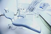 Dental Chair Stands In Office. Different Medical Equipment. Healthcare Concept. Medical And Care. Wo poster