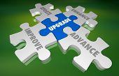 Upgrade Update Improve New Modernize Puzzle 3d Illustration poster