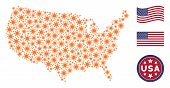Sun Items Are Composed Into American Map Abstraction. Vector Collage Of America Geographic Map Is Fo poster