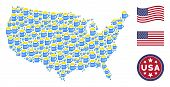 Beer Glass Icons Are Combined Into American Map Mosaic. Vector Collage Of American Geographical Plan poster