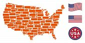 Building Brick Icons Are Combined Into American Map Collage. Vector Collage Of American Territory Sc poster