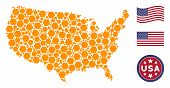 Filled Hexagon Items Are Arranged Into Usa Map Collage. Vector Collage Of Usa Territorial Map Is Con poster