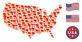 Waving Flag Items Are Organized Into United States Map Stylization. Vector Collage Of American Geogr poster