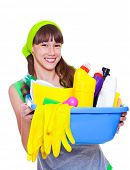 Laughing teenage girl ready for domestic work poster