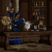 pic of witch-doctor  - A wizard makes a magic potion brew in his library full of books - JPG