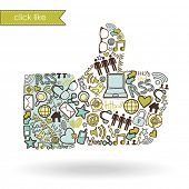 stock photo of like_a_person  - Like sign made with social media icons - JPG