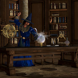 image of witch-doctor  - A wizard makes a magic potion brew in his library full of books - JPG