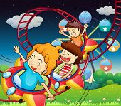 stock photo of breath taking  - Illustration of the three kids riding in a roller coaster - JPG