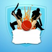 foto of cricket  - Cricket batsman in playing action on colorful waves background - JPG