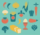 Set of Food Icons, including asparagus, corn, broccoli, radish, egg and button mushroom, in retro st