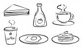 Illustration of the foods and drinks for breakfast on a white background