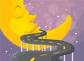 Illustration of a curve road with a moon