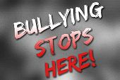 foto of school bullying  - Bullying stops here poster on a grey gradient background - JPG