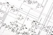 foto of mechanical drawing  - Detailed technical drawing with a lot of calculations - JPG