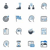 stock photo of productivity  - Set of 16 productive at work icons great for presentations - JPG