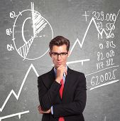 young business man standing in front of some graphs and charts with a pensive look on his face