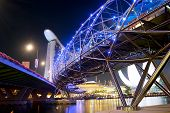 image of duplex  - The Helix Bridge and Marina Bay Sands at night - JPG