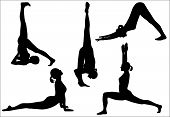 pic of yoga silhouette  - Five yoga positions - JPG