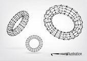 picture of nanotube  - Composition of wireframe elements in the form of  torus with vertices in different perspective - JPG