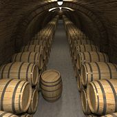 3D rendering of a wine cellar